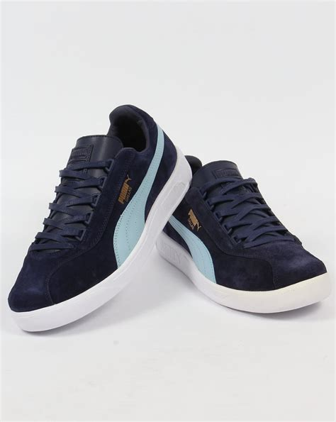 Puma Dallas Trainers Navy/Sky Blue,shoes,suede,leather,terrace
