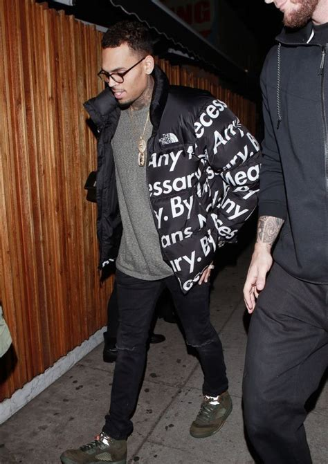 Chris Brown Leaving The Nice Guy In Supreme x North Face