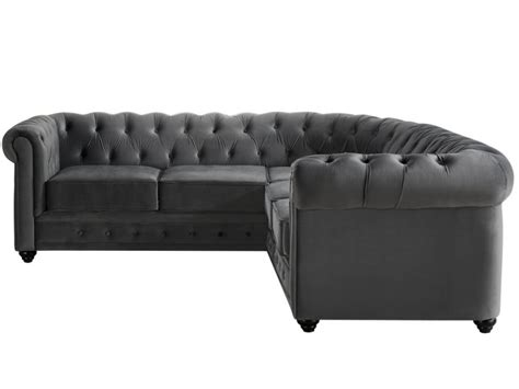 Canapé d'angle en velours anthracite CHESTERFIELD