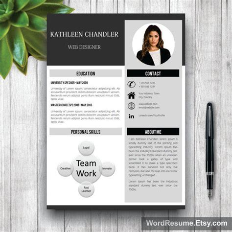 Clean Resume Template With Photo + Cover from WordResume