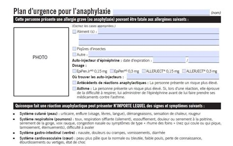 Plan d'urgence pour l'anaphylaxie - Food Allergy Canada