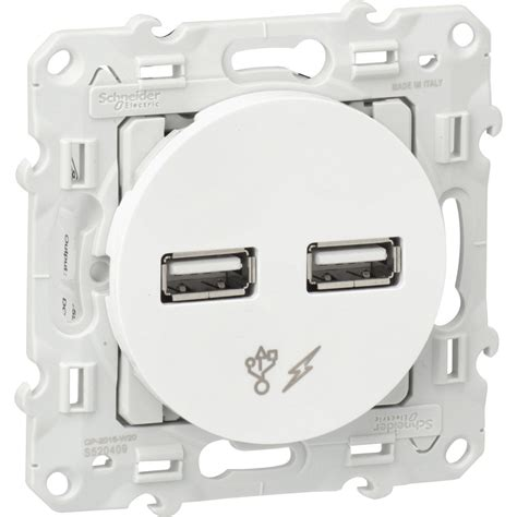 Prise chargeur double usb Odace, SCHNEIDER ELECTRIC, blanc